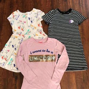 Girls Unicorn Dress Tee Shirt Lot sz 8